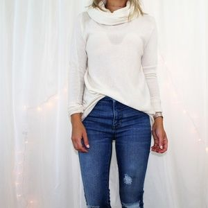 Vince Ivory Cowl Neck 100% Cashmere Sweater Tunic